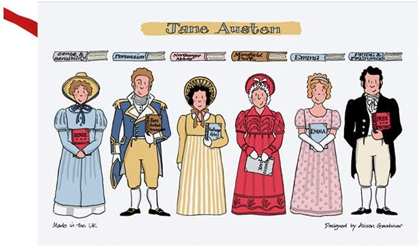 Jane Austen Books Pride Prejudice Sense Sensibility Mansfield Park Northanger Abbey Characters On Kitchen Towels And Dish Cloths Teacher Gifts For Women 29 X19