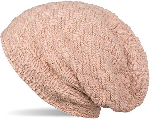 styleBREAKER warme Feinstrick Beanie Mütze mit Flecht Muster und sehr weichem Fleece Innenfutter, Unisex 04024058, Farbe:Altrose