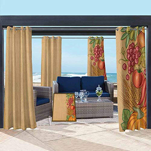 ParadiseDecor Harvest Shade Screen Outdoor Courtyard Decoration Frame with Retro Elements Seasonal Composition Clean Eating Thanksgiving Vintage Multicolor 84W x 63L Inch