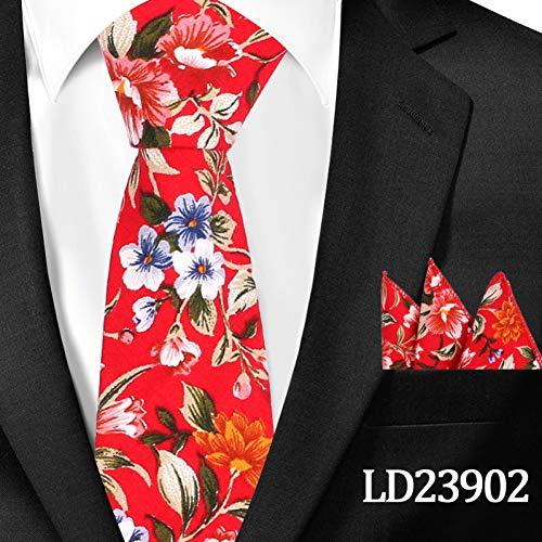 DYDONGWL stropdas voor heren, lint van hout, casual, bloemenmotief, katoen, stropdassen en tassen, bloemendruk, voor mannen, stropdassen, 6 cm, smalle stropdas