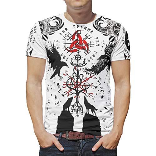 Harberry Hombres Vikings tatuaje camiseta de verano casual - Poliéster Top