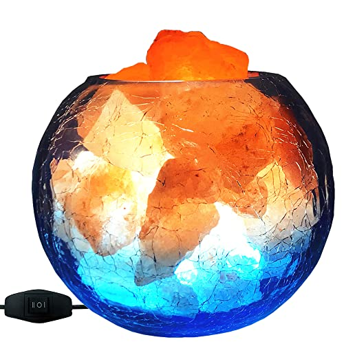 V.C.Formark USB Himalayan Salt Lamp, Release Negative Ion Purifying Air, Visual Impact of Ice and Fire, Adjustable LED Modes Salt Rock Lamp, Used for...