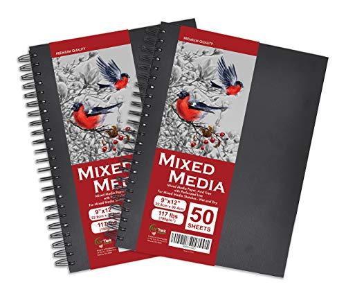 "LYTek Mixed Media Paper,2Pack Hardcover Sketchbook,117lb/190g Total 100 Sheets Acid-Free Paper,Spiral Bound,Ideal for Pen,Maker,Color Pencil and Light Wash Wet Media.9""x12""(Include Binding)"