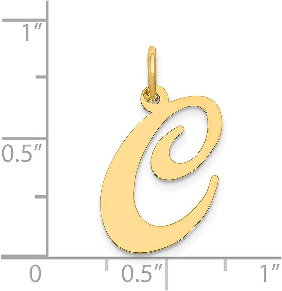 Solid 14k Yellow Gold Large Unique Script Initial Letter C Alphabet Charm Pendant - 22mm x 17mm