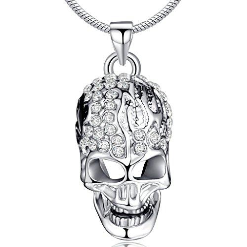Infinite U Cráneo Calavera Cristal Austríaco Chapado en Plata Colgan