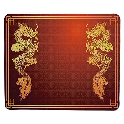 Yanteng Gaming Mouse Pad Drache, chinesisches Erbe historisches asiatisches Ostmotiv mit legendärem Kreatur-Design dekorativ, orange gelber Rand