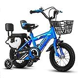 Bicicleta para niños 12 14 16 Bicicleta para Niños de 18 Pulgadas con Ruedas de Entrenamiento Desmontables para Niño y Niña de 2 A 9 Años Bicicleta para Niños con Asiento Trasero Bicicleta Portátil pa