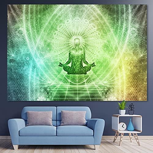 PPOU Meditación India Mandala Tapiz Colgante de Pared brujería Tapiz Hippie Bohemio Fondo Tela Manta Colgante de Pared A1 100x150cm