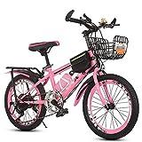 ZL 7 velocidades Hardtail Bicicleta de montaña for los niños o for niños, niña, Compacto de Bicicletas de montaña de 24 Pulgadas Ruedas, Opciones de Marco de Acero y Cesta, Bolsa (Color : Rosado)