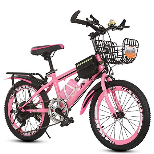 7-Speed Hardtail Mountain Bike for Boys Or Kids, Girl, Compact Mountain Bicycle 24 Inches Wheels, Steel Frame Options and Basket, Bag (Color : Pink)