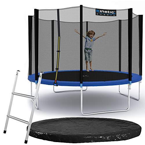 Kinetic Sports Outdoor Gartentrampolin Ø 335 cm, TPLS11, inklusive Sprungtuch aus USA PP-Mesh +Sicherheitsnetz +Rand- u. Regen-Abdeckung +Leiter, bis 150kg, GS-geprüft,UV-beständig, BLAU