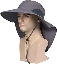 SEADEAR Sun Hat for Men & Women Waterproof Wide Brim with Neck Flap Fishing Safari Cap UPF 50+ Sun Protection Hat for Fishing, Hiking, Camping, Boating & Outdoor Adventures,Dark Gray
