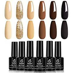 【New Trend Gel Polish Set】:This is a set of chocolate brown colors gel nail polish which are ideal for autumn and winter! Color Number is: 962-963-964-965-966-967. 【Environmental & Healthy】: The 6pcs fall neutral beige khaki series gel polish set are...