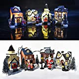 iClosam Christmas Scene Village Snow House Sets LED Light Up Battery Operate Lovely Christmas Tabletop Ornamnet Holiday Decor Gift (12 Pcs)