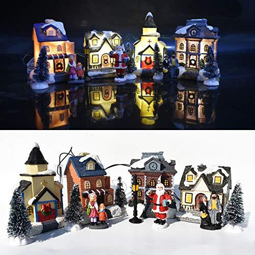 Aiboria 10 Stück Weihnachtsdorf Sammlung, 2021 Harz Bunt dekoriertes Miniatur beleuchtetes Gebäude, Weihnachtsdekor/Geschenk/Sammlerstück, EIN/Aus-Schalter