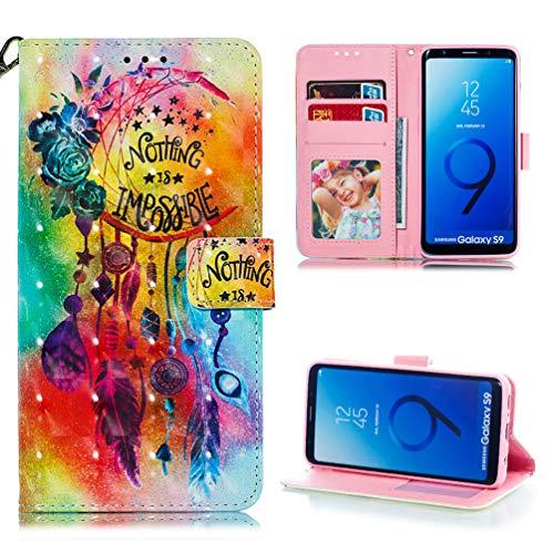 Edauto - Funda de Piel sintética Tipo Libro para Samsung Galaxy S9, con Tarjetero, diseño de Lobo de la Noche
