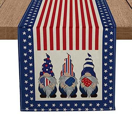 Artoid Mode Strip and Star American Flag Gnomes Ice Pops Table Runner, 4th of July Patriotic Memorial Day Independence Day Kitchen Dining Table Decoration for Home Party Decor 13 x 72 Inch