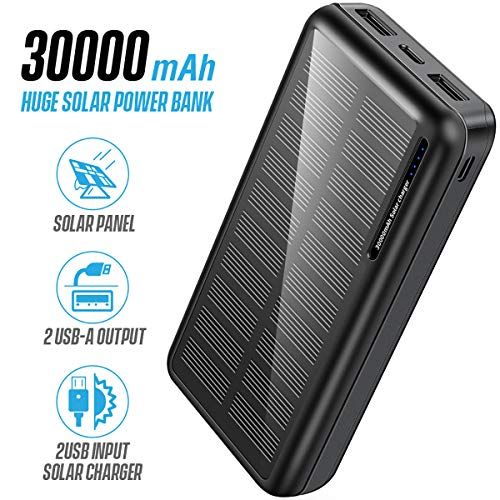 Solar Power Bank 30000mAh, minrise Portable Charger Solar Charger Power Bank with 2 USB and Type C Output Ports, Fast Charging Battery Pack for Outdoor Camping for iPhone, Andriod Phone etc.