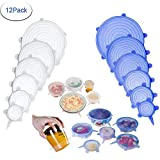 Miracle Lids Preserving Lids Silicone Stretch Lids Fresh Keeping Cover Food Saving Cover 12 Packs of Storage Bowl Lids Saver Stretch Covers