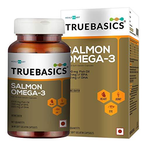 TrueBasics Salmon Omega 3, 1000mg Fish Oil, EPA 330 DHA 220, 30 softgels