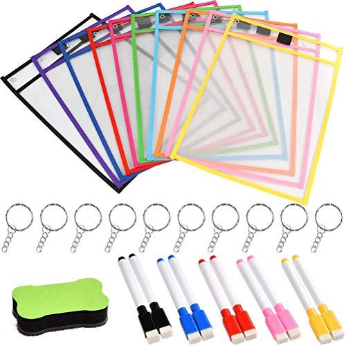 YOTINO 10 Stück PVC Wiederverwendbare Taschen Trocken Abwischbare Taschen 1PCS Radiergummi in Knochenform + 10 Stück Radierstifte für Schule, Arbeit +10Schlüsselring