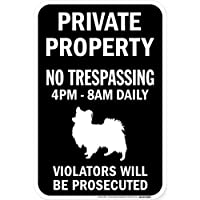 PRIVATE PROPERTY ブラックマグネットサイン:パピヨン シルエット 英語 私有地 無断立入禁止