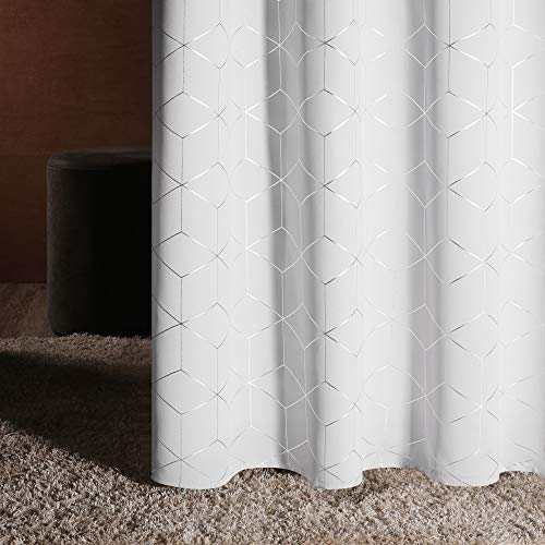 Deconovo Silver Diamond Foil Print Grommet Room Darkening Thermal Insulated Curtains Blackout Window Panels for Bedroom Width 42 Inch by Length 84 Inch Greyish White 2 Panels