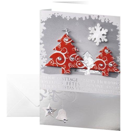 SIGEL DS454 10 Cartes de noël ou cartes de vœux fournies avec leur enveloppe, motif sapins de noël, 10,5 x 14,8 cm, gris, blanc, rouge et argenté