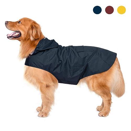 Impermeable para perros con capucha y collar Agujero y tiras reflectoras seguras, Ultra-Light