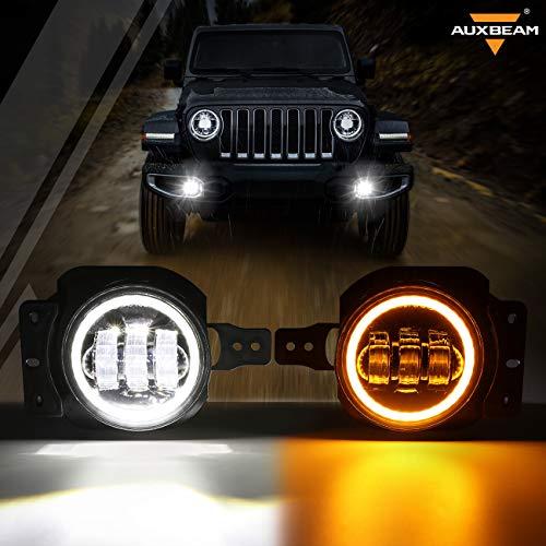 Auxbeam 4  LED Fog Lights for Jeep Wrangler JL JLU 2018-2020 w  2 Brackets, 4 Inch Round LED Fog Lamps for Jeep Gladiator JT 2018+, LED Fog Light Assembly Kit w  DRL & Amber Turn Signal Lights