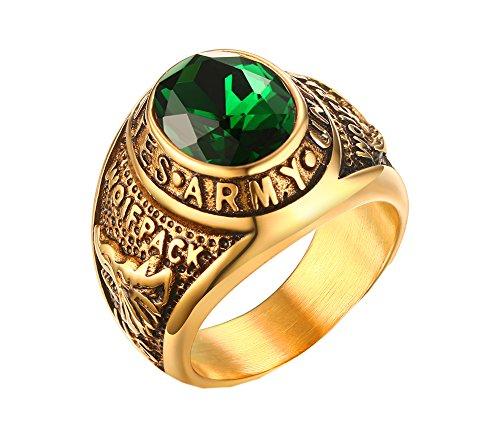 pmtier Hombres de acero inoxidable oro anillos de clase de ejército de los Estados Unidos