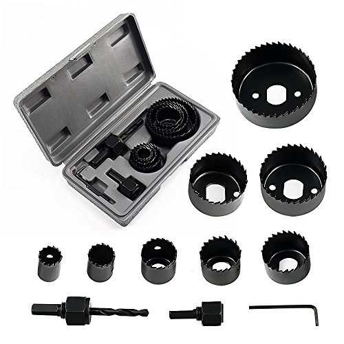 Locisne Hole Saw Set 11 pieces 3/4'' - 2 1/2' Hole Saw Kit Hex Key and Install Plate for Wood, PVC board, Plastic Plate Drilling