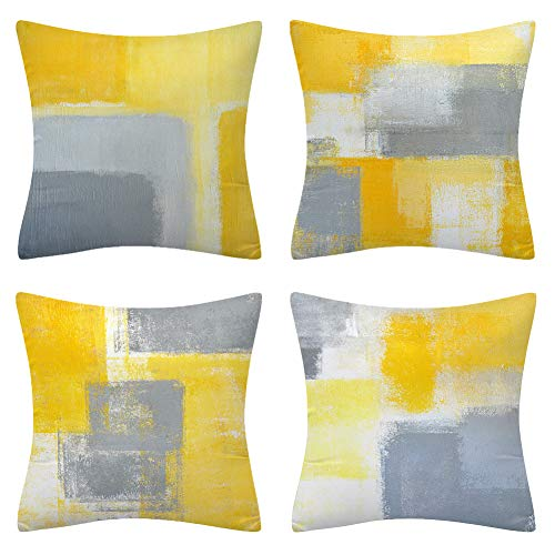 BCKAKQA Cushion Covers 45cm x 45cm Set of 4 Yellow and Grey Decorative Throw Pillow Covers 18x18 inches Soft Polyester Square Throw Pillow Cases for Living Room Sofa Couch Bed Pillowcases