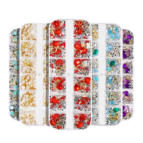 Pixnor 6Box Nail Art Goujons Lune Étoile Nail Décor 3D Nail Art Charmes Perle Strass Perles Clous Clous pour Nail Art Bricolage Décoration