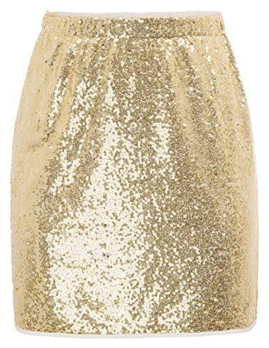 GRACE KARIN Mujer Falda de Tubo con Lentejuelas Corta Lápiz Cintura Elástica para Fiesta