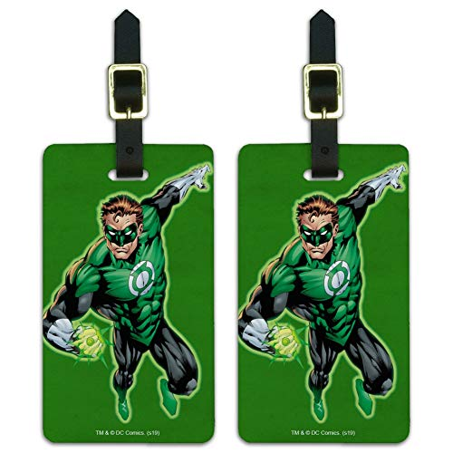 Green Lantern Character Luggage ID Tags Suitcase Carry-On Cards - Set of 2