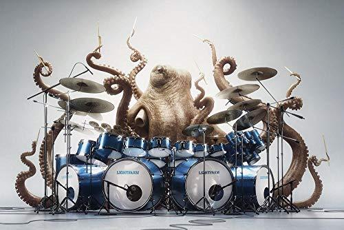 WAIXIAOYU Humor Kreativität Tier Oktopus Trommel Schlagzeuger Spielen Musik Weißen Hintergrunderwachsene Kinder Digitale Ölgemälde Anzug Dekoration Rahmenlos40 * 50Cm