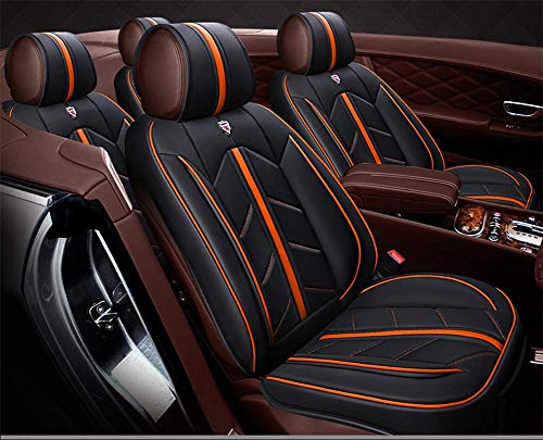 DYB Leather Car Seat Cover, Universal Four Season Seat Cushion Fully Enclosed Car Protection Pad Front And Rear Back 5 Full Set with Cushion,Orange