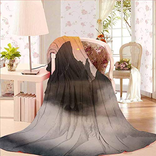 70' W x 94' L Mountain Extra Soft Double Side Blanket for Adults Kids or Pet Chinese Mountains with Mist Clouds Horizon Sunset Dreamlike Surreal Picture Orange Brown