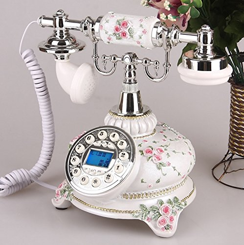 Motesuvar Originalidad de moda, teléfono retro de estilo europeo, teléfono antiguo antiguo, oficina en casa, fijo, Golden Ultimate (identificación de llamadas con retroiluminación manos libres)