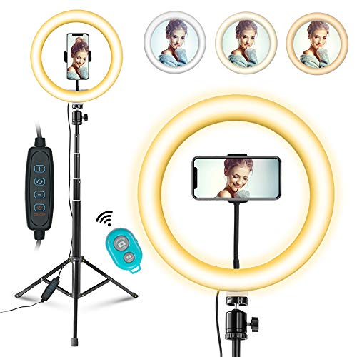 """10"""" Selfie Ring Light with Tripod Stand and Phone Holder for TikTok/YouTube/Photography/Makeup/Live, MOUNTDOG LED Circle Light for iPhone Android Phone, 3 Light Modes & 11 Brightness Level"""