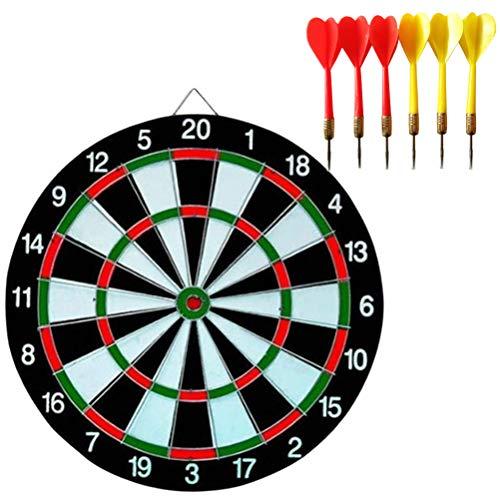 Buy Wakauto Dart Board Set, 12 Inch Double Sided Dart Board Flocking Dart Board Including 6 Darts In...