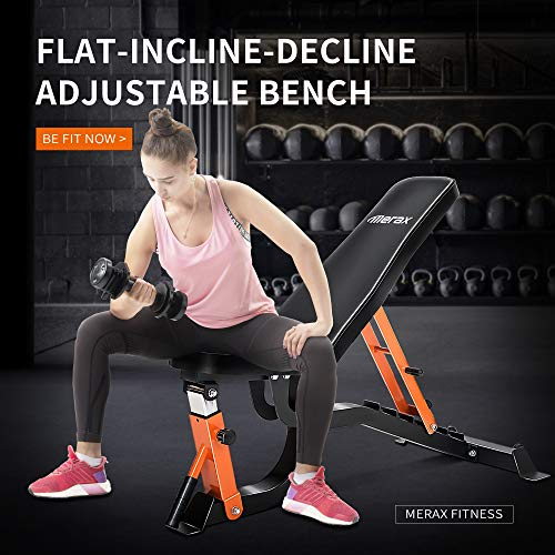 Merax Adjustable Weight Bench - 6 Position Incline Decline Utility Bench with High Density Foam Padding for Home Gym Strength Training [600 LBS Weight Capacity] (Black)