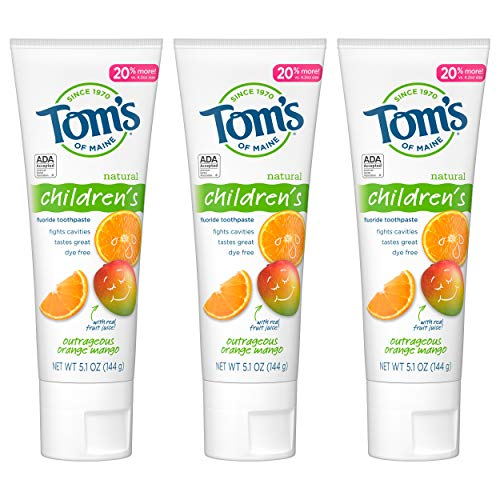 Tom's of Maine Natural Children's Fluoride Toothpaste, Outrageous Orange Mango, 5.1 oz. 3-Pack