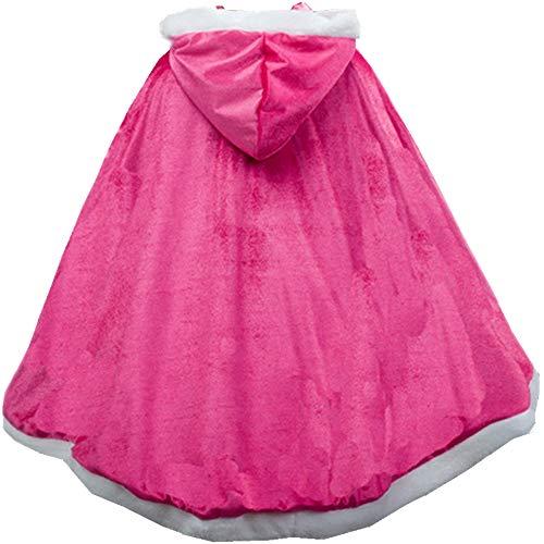 L-Perzik Meisjes Prinses Hooded Kaap Mantels Halloween Kerstmis Verjaardag Partij Aankleden Kostuum