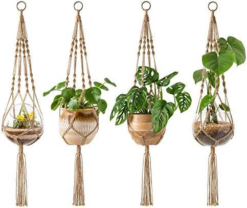Mkono 4 Pack Macrame Plant Hangers Indoor Hanging Planter Basket Decorative Flower Pot Holder product image