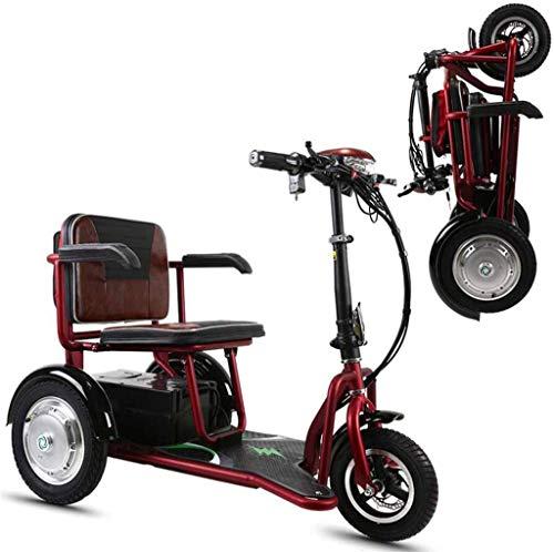 GQQ Rollstühle, Faltbares Elektrisches Dreirad Tragbar Für Ältere Menschen/Behinderte/Reisen Im Freien Elektroroller Leichte Mobile 48V12A Lithiumbatterie / 40 Km / 125 Kg Komfortables Und Sicher