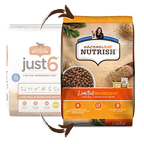 Rachael Ray Nutrish Just 6 Natural Premium Dry Dog Food, Limited Ingredient Diet Lamb Meal & Brown Rice Recipe, 14 Lbs