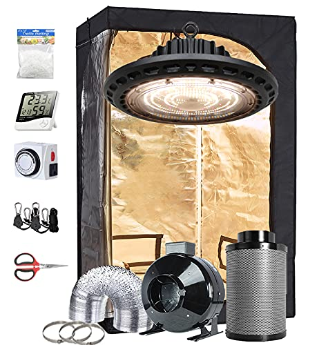 "TopoGrow Indoor Grow Tent Complete Kit Package 300W LED UFO Grow Light Lamp Full-Spectrum, 32""X32""X63"" Growing Tent, 4"" Ventilation Kit ,Hangers,Hygrometer, Shear, Timer,Trellis Netting"
