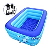 ECOiNVA Inflatable Hot Tubs Swimming Pool Home Garden Travel Portable Tubs Pools with Electric Air Pump Inflator (L)